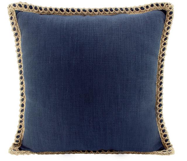 Navy Jute & Linen Cushion