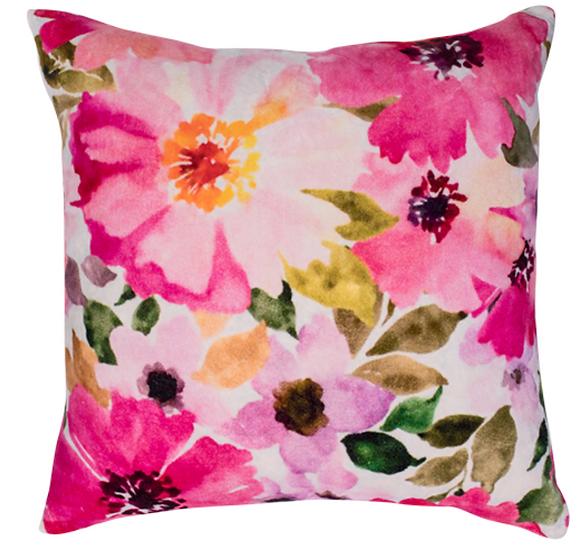 Velvet Watercolour Flower Cushion