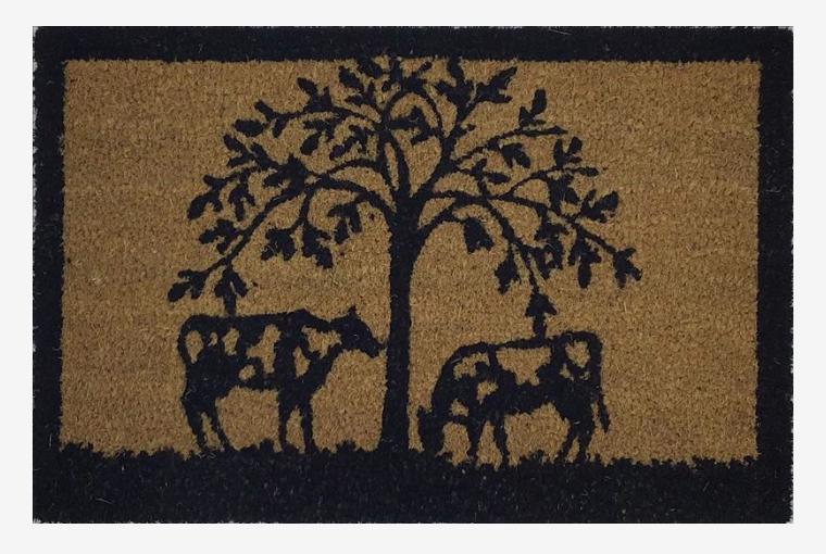 Cow Under Tree Door Mat