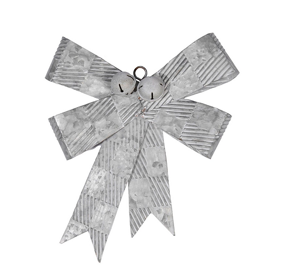Pressed Metal Bow White Washed
