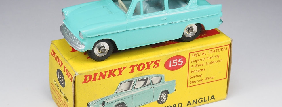 DINKY TOYS ENGLAND - 155 - FORD ANGLIA WITH PALE BLUE INTERIOR