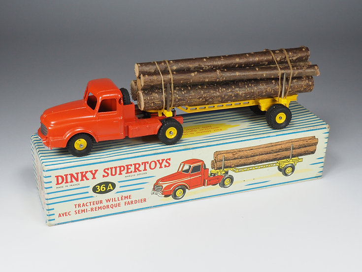 DINKY TOYS FRANCE - 36A - TRACTEUR WILLEME AVEC SEMI-REMORQUE FARDIER