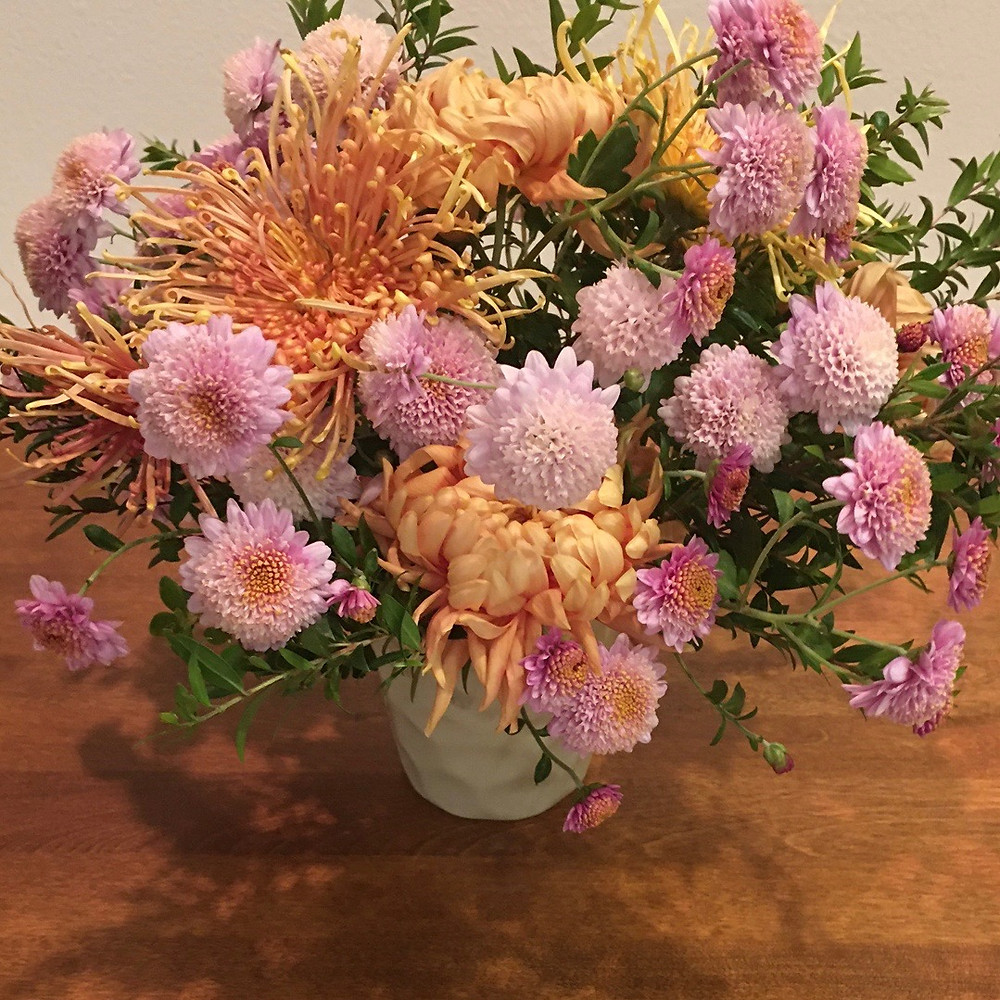 chrysanthemums, pink and bronze