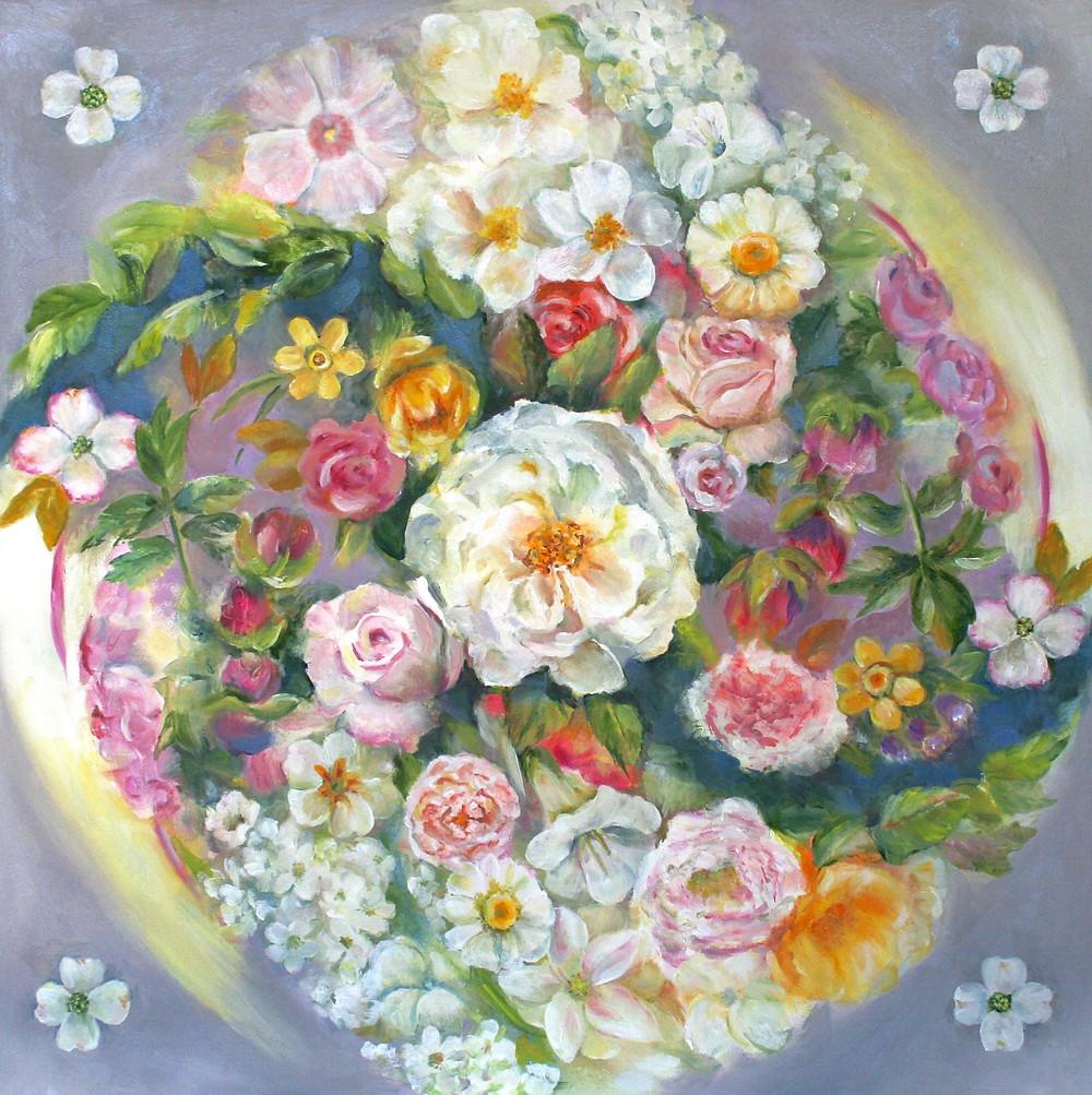 oil painting of flowers by artist Julia Watson