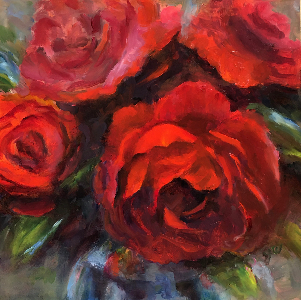 oil painting of roses by Julia Watson