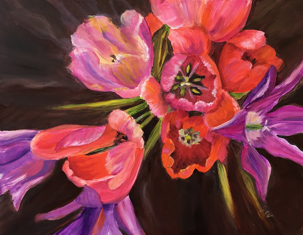 oil painting of tulips