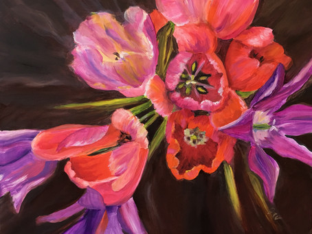 Painting from the  Garden - Tulips