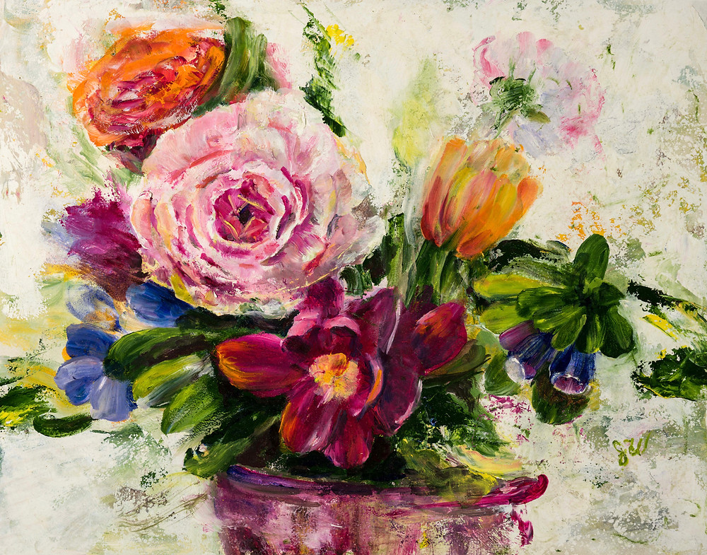 Oil painting of spring flowers