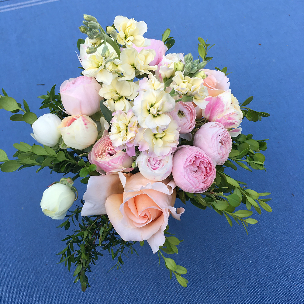 bouquet of stock and ranunculus