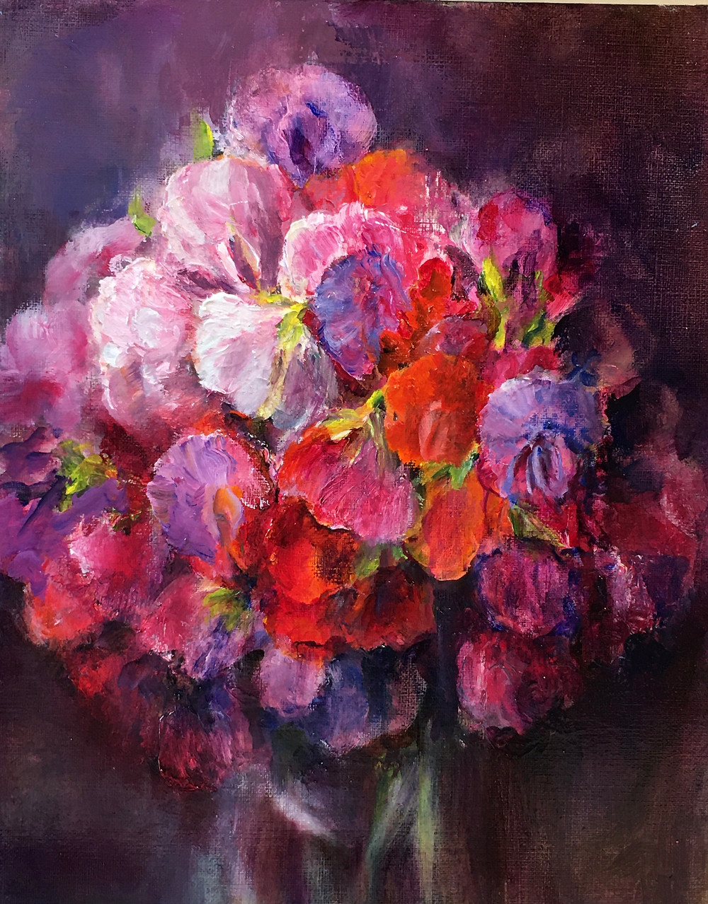 oil painting of sweet peas