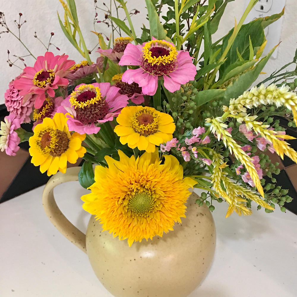 flower bouquet with zinnias