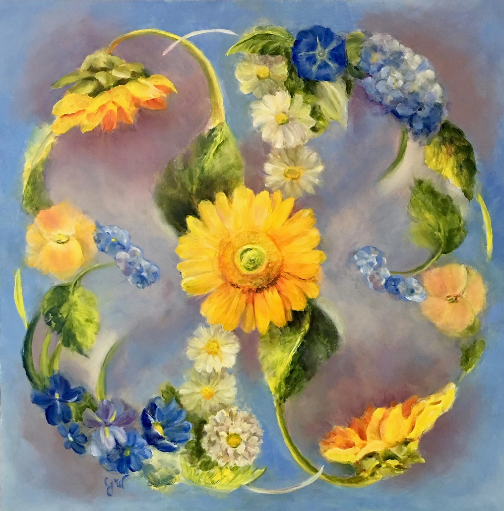 oil painting with sunflowers