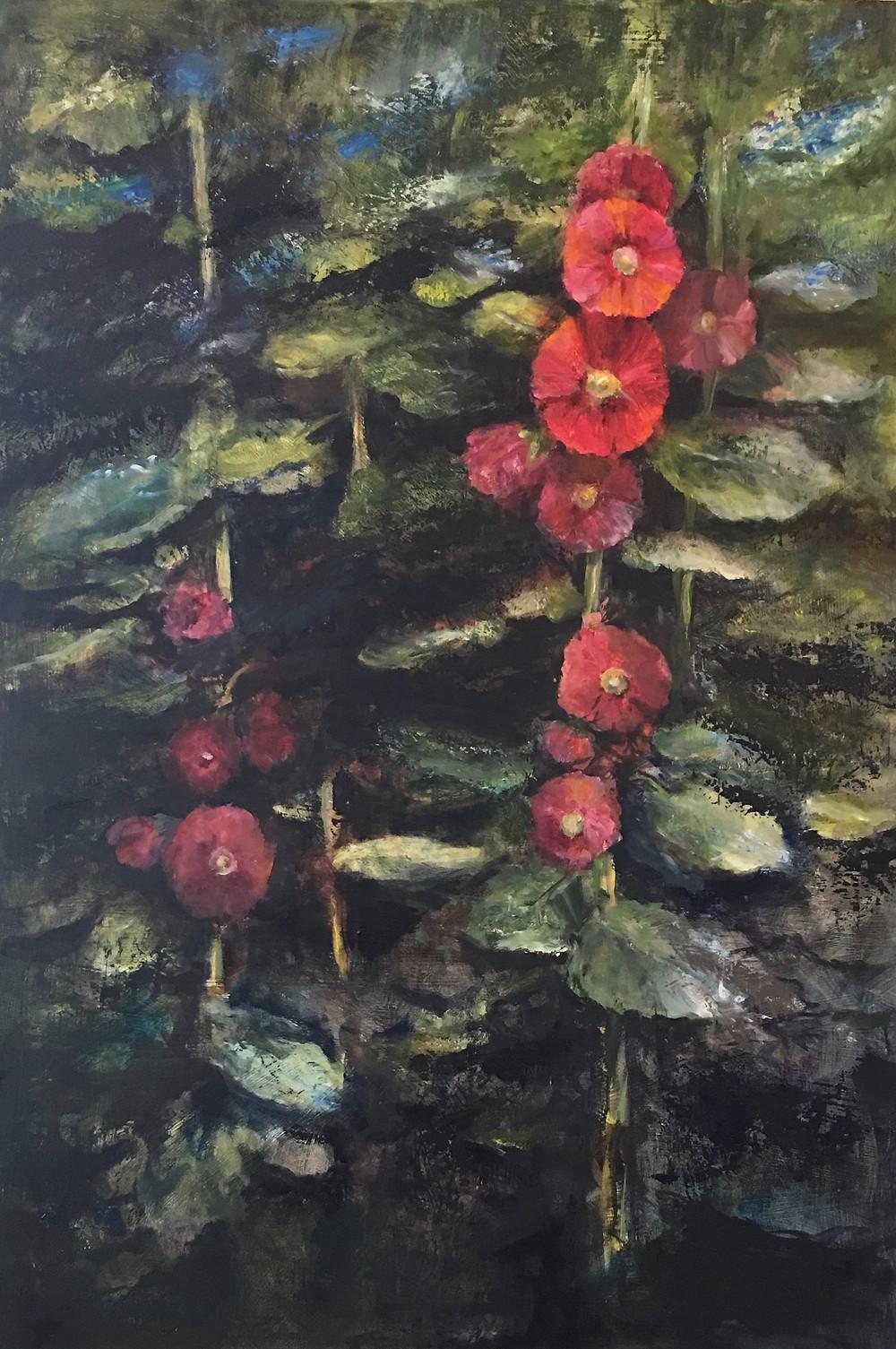 oil painting of hollyhocks by artist Julia Watson