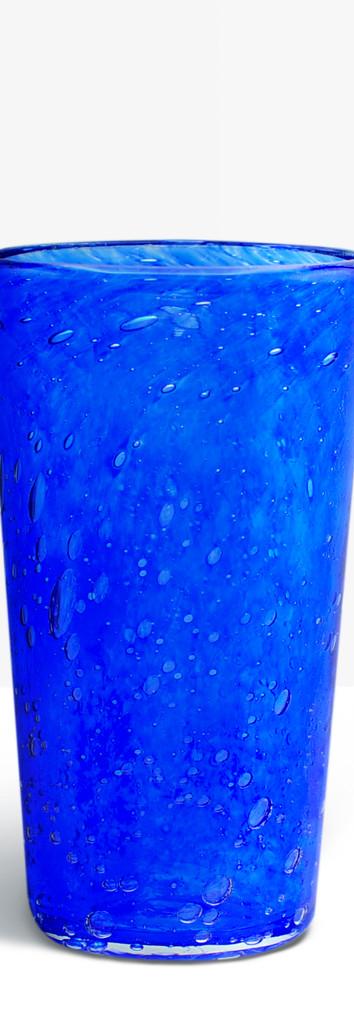 Verre évasé bleu cobalt