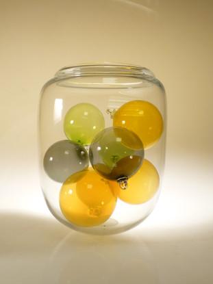 Boules déco, vase transparent