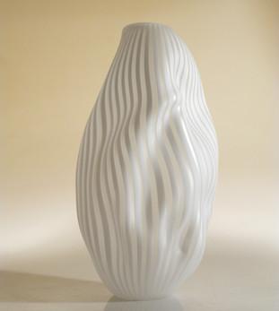 Vase froissé blanc