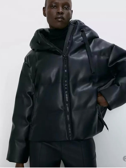 Leather Hooded Puffer Jacket