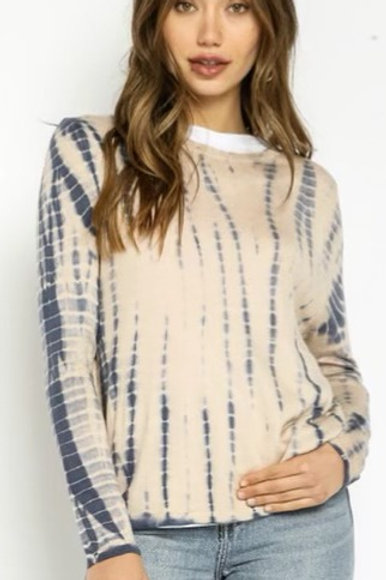 Beauty in Blue Accent Long Sleeve Tee