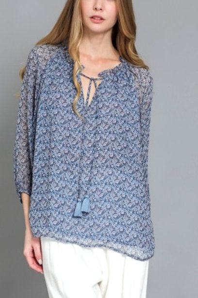 Picnic in the Park Blue Blouse