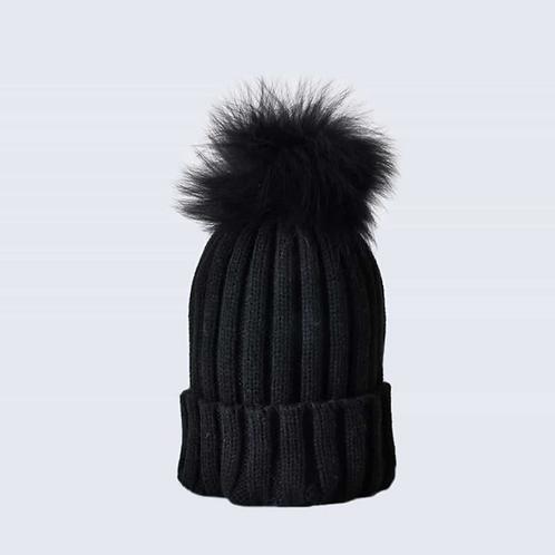 Black Hat with Black Fur Pom Pom
