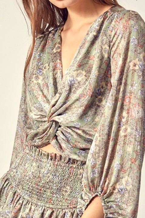 Center Knot Floral Top