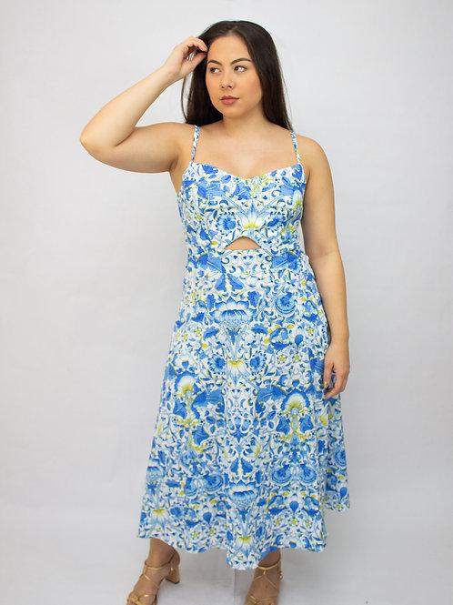 Vestido Mid Estampa Floral Azul