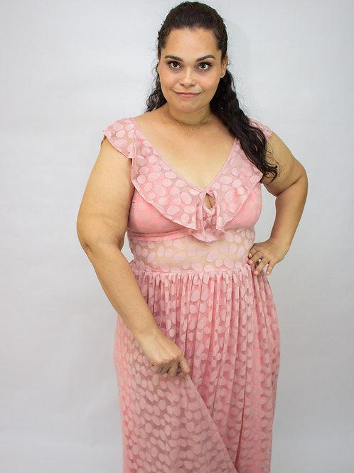 Vestido Longo com Tule Rosê Amicci