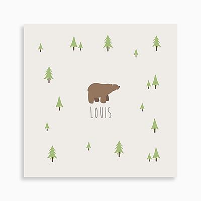 faire-part de naissance ours brun dans la forêt pour garçon de couleur beige