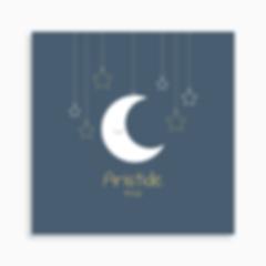 faire-part de naissance mobile lune suspendue pour garçon de couleur bleu foncé