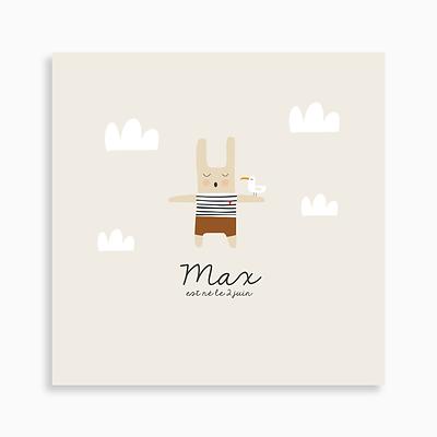 faire-part de naissance lapin marin et sa mouette recto pour garçon de couleur beige