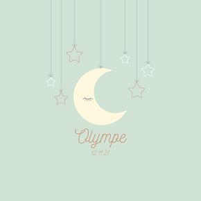 faire-part de naissance mobile lune et étoiles vert