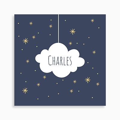 faire-part de naissance nuage et étoiles pour garçon de couleur bleu nuit