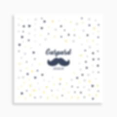 faire-part de naissance moustache sur motif confettis pour garçon de couleur bleu foncé
