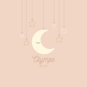 faire-part de naissance mobile lune et étoiles rose