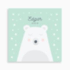 faire-part de naissance ours polaire rêveur pour garçon de couleur vert d'eau