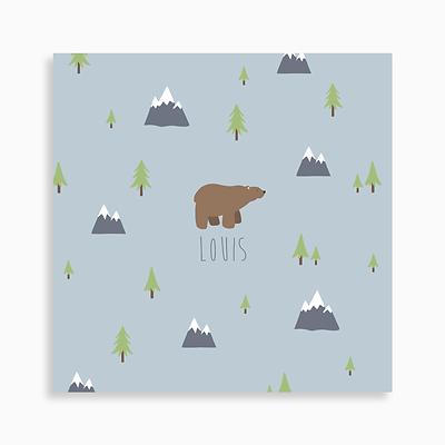 faire-part de naissance ours brun dans les montagnes pour garçon de couleur bleu gris