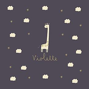 faire-part naissance girafe dans les étoiles mauve