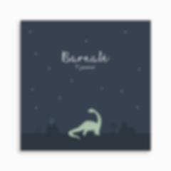 faire-part de naissance dinosaure et décor préhistorique pour garçon de couleur bleu foncé