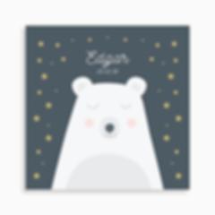 faire-part de naissance ours polaire rêveur pour garçon de couleur bleu foncé