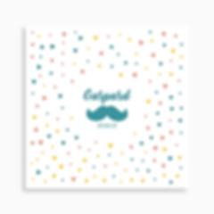 faire-part de naissance moustache sur motif confettis pour garçon de couleur turquoise