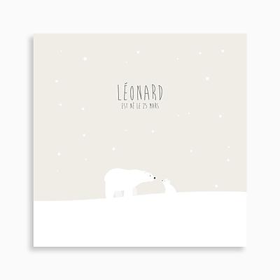 faire-part de naissance ours polaire et son ourson pour garçon de couleur beige