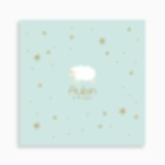 faire-part de naissance mouton blanc dans les étoiles pour garçon de couleur bleu clair