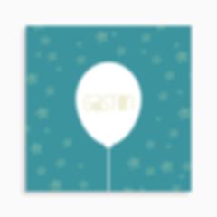 faire-part de naissance ballon et étoiles pour garçon de couleur turquoise