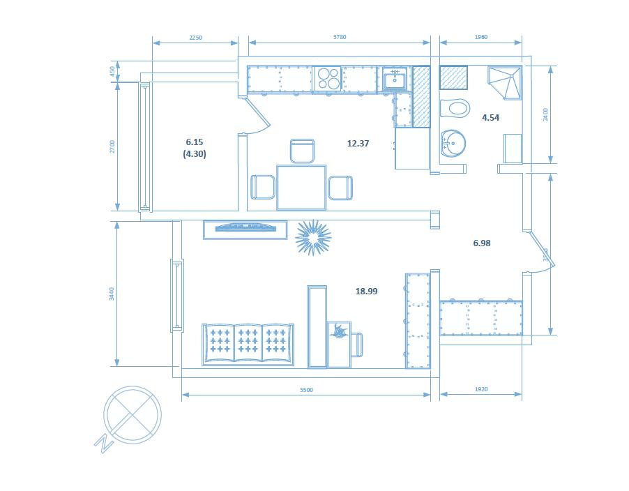 Однокомнатная квартира 47.18 кв.м.