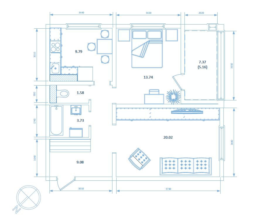 Двухкомнатная квартира 48.89 кв.м.