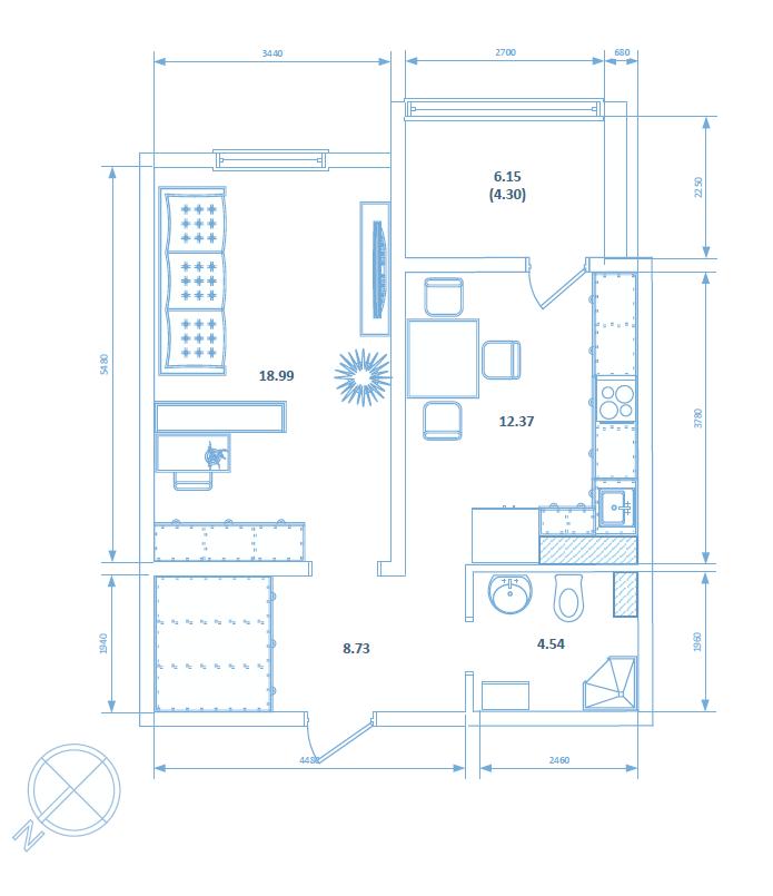 Однокомнатная квартира 48.93 кв.м.