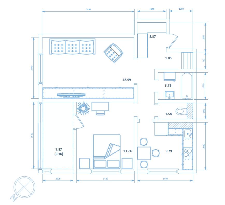 Двухкомнатная квартира 62.41 кв.м.