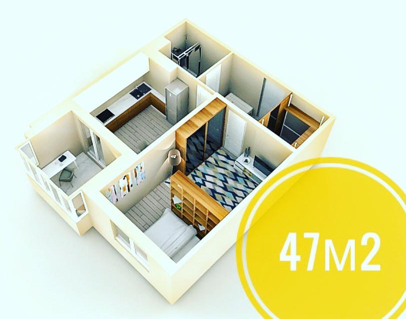 однокомнатная квартира 47м2