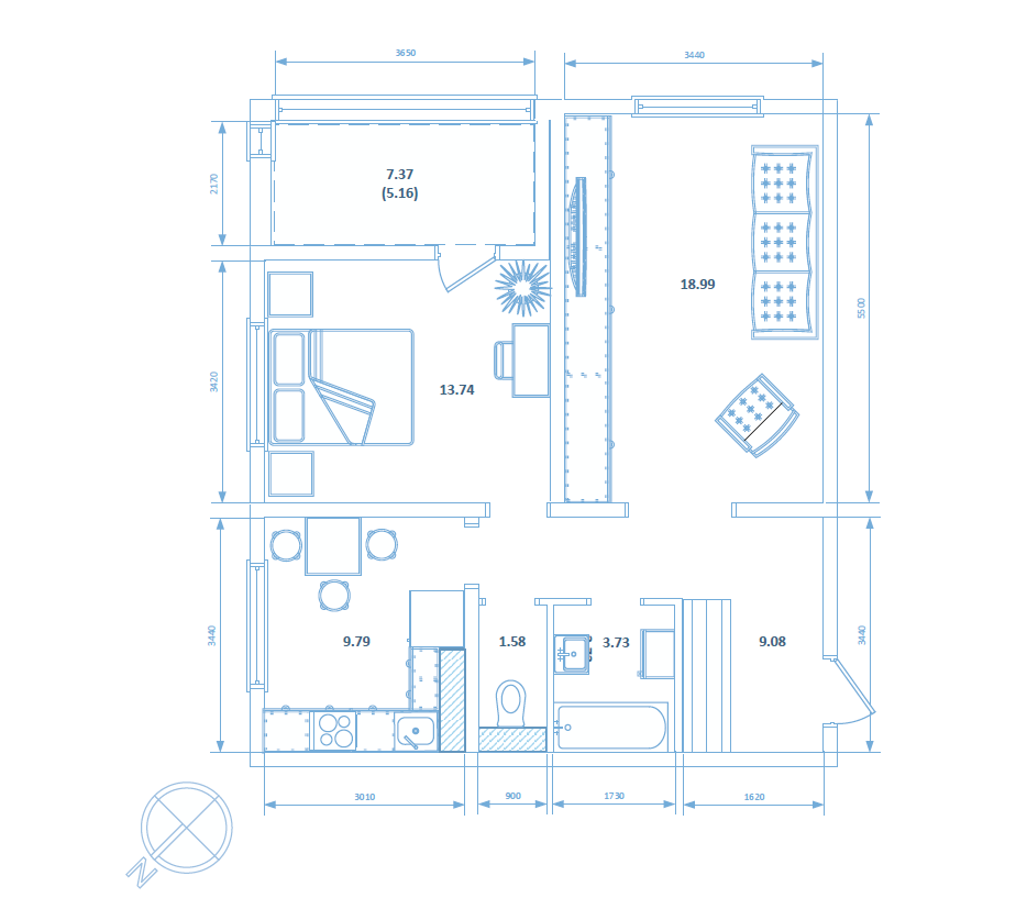 Двухкомнатная квартира 62.07 кв.м.