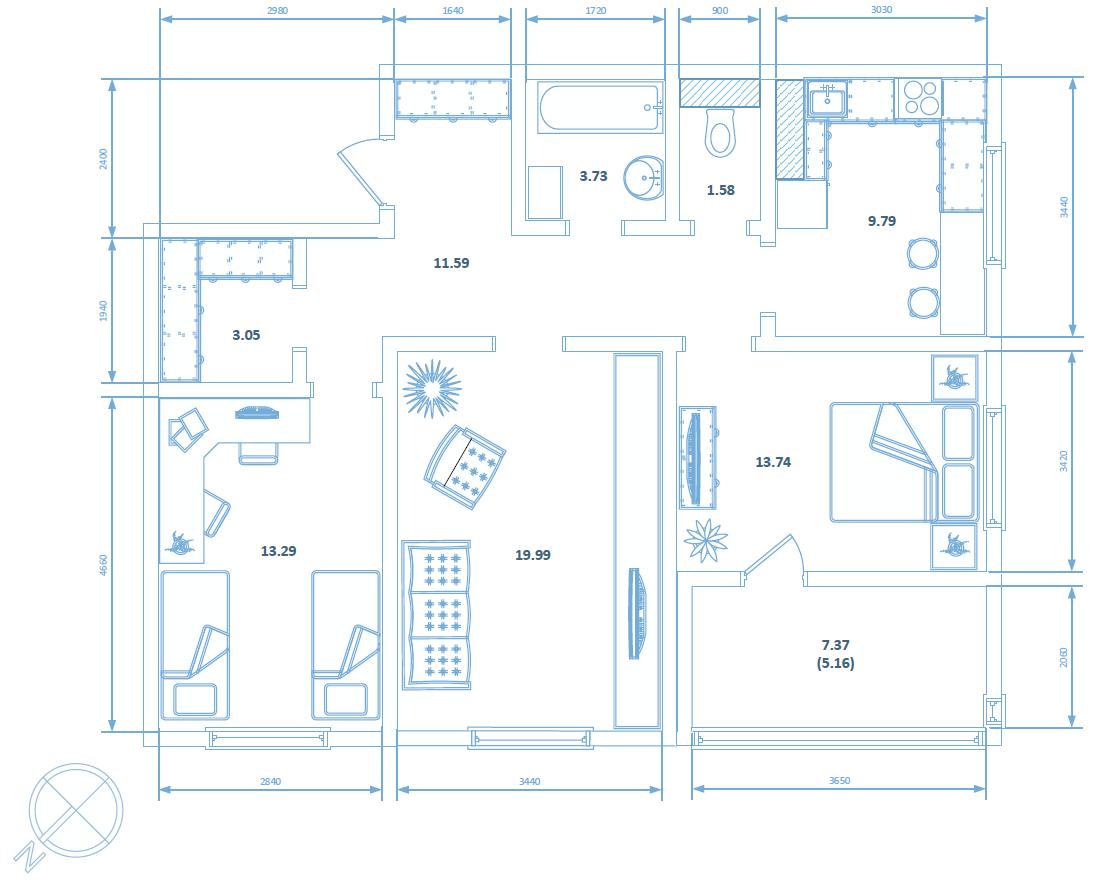 Трехкомнатная квартира 80.92 кв.м.